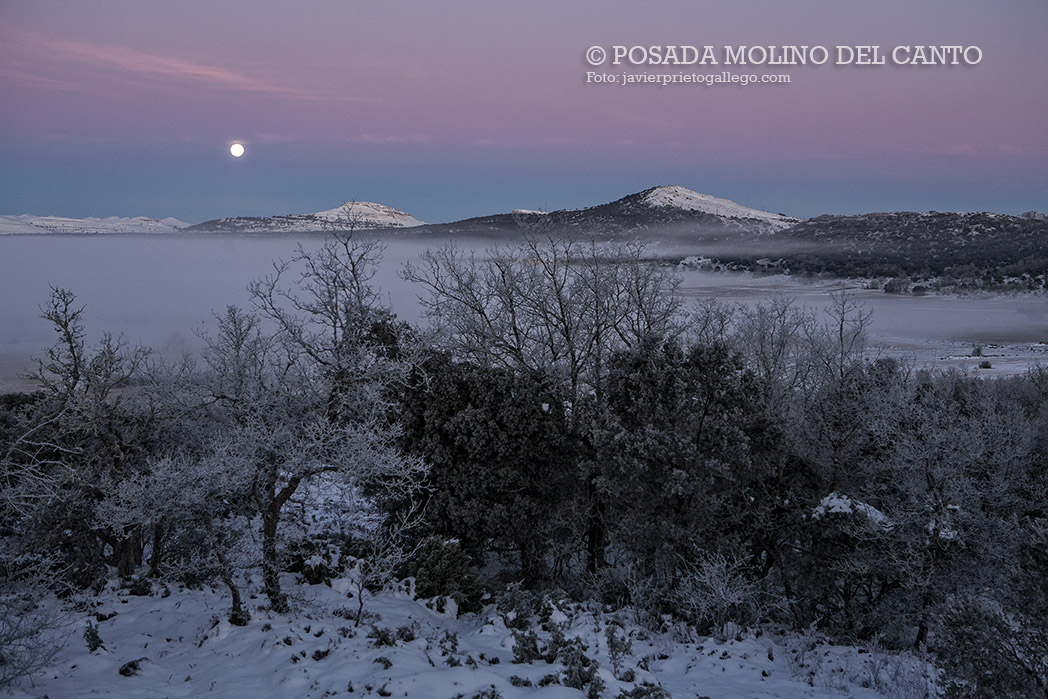 La luna y la niebla presiden un amanecer helado en el valle de Zamanzas. Burgos. Castilla y León. España © Javier Prieto Gallego